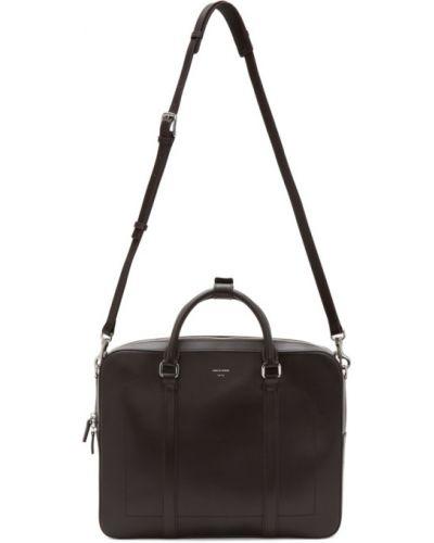 Черный кожаный портфель с карманами Tiger Of Sweden
