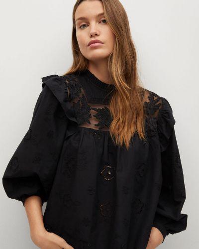 Czarna bluzka elegancka z długimi rękawami Mango