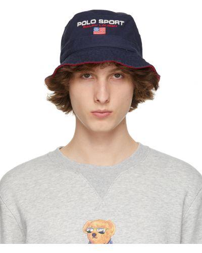 Biały kapelusz bawełniany z haftem Polo Ralph Lauren