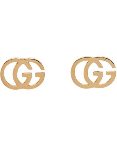 Текстильные серьги-гвоздики золотые Gucci
