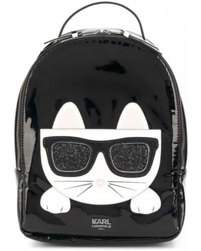 Черный рюкзак с аппликациями из вискозы на бретелях Karl Lagerfeld Kids
