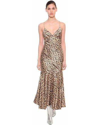 Ażurowa satynowa sukienka długa rozkloszowana Annakiki