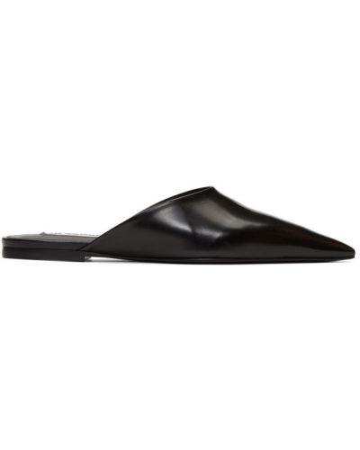 Черные кожаные мюли с тиснением Jil Sander