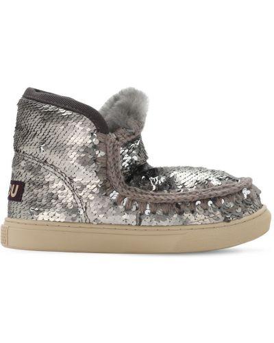 Zamsz buty prążkowany z cekinami srebro Mou