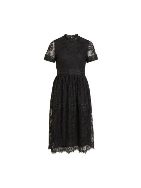 Czarna sukienka midi elegancka krótki rękaw Vila