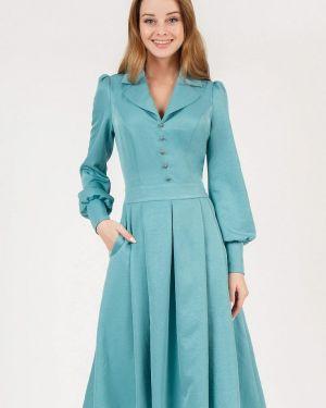Повседневное платье бирюзовый осеннее Marichuell