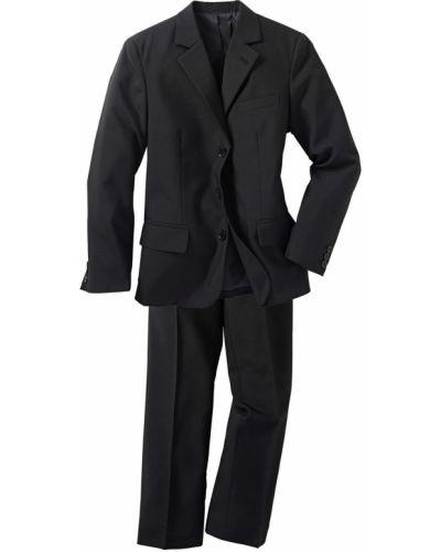 Черный костюм с поясом Bonprix