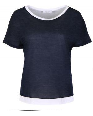 Хлопковая футбольная синяя футболка с круглым вырезом Gran Sasso