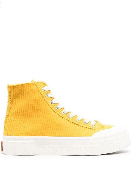 Желтые высокие кеды на шнуровке Good News