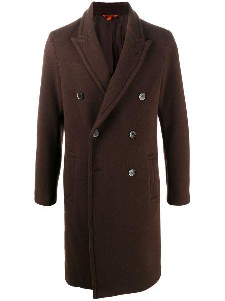 Bawełna brązowy wełniany długi płaszcz dwurzędowy Barena