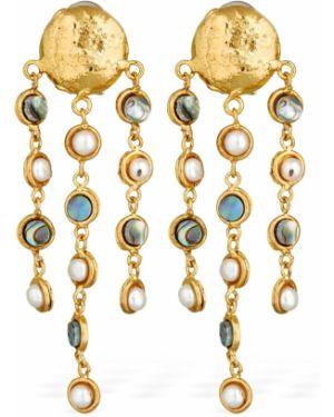 Złote kolczyki sztyfty perły Sylvia Toledano