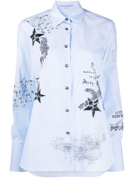 Синяя с рукавами классическая рубашка с воротником Ermanno Scervino