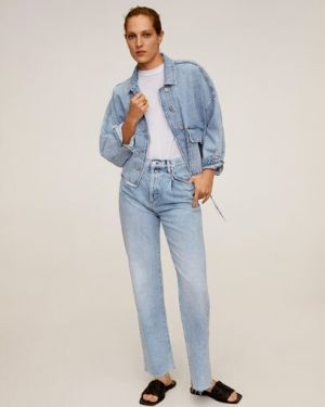 Джинсовая куртка на пуговицах с карманами Mango