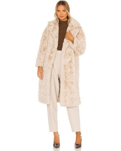 Свободное бежевое пальто из искусственного меха Elliatt