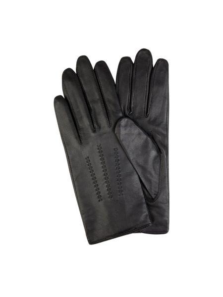 Czarne rękawiczki skorzane Boss