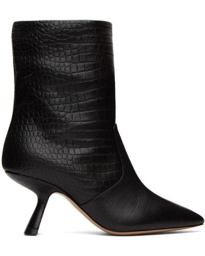Czarny buty na pięcie z ostrym nosem z prawdziwej skóry na pięcie Nicholas Kirkwood