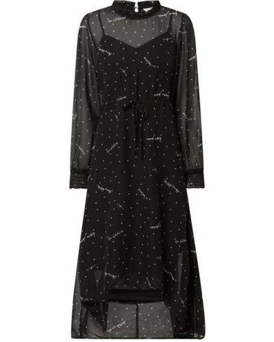 Czarna sukienka rozkloszowana z szyfonu Only