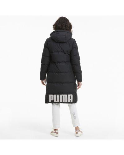 Пуховая черная длинная куртка двусторонняя Puma