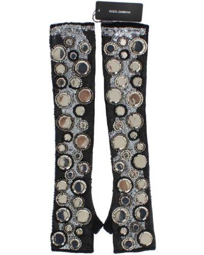 Czarne rękawiczki bez palców srebrne Dolce And Gabbana