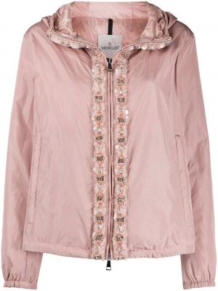 Куртка с капюшоном розовая на молнии Moncler