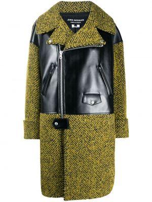 Czarny długi płaszcz wełniany z długimi rękawami Junya Watanabe