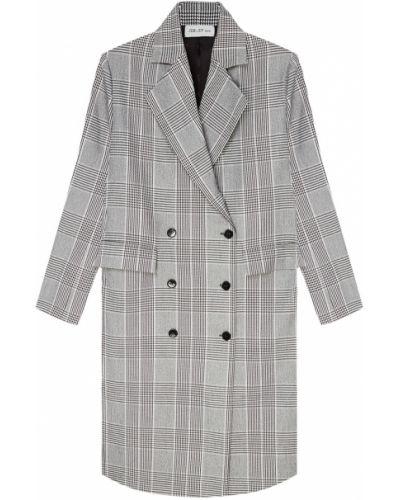 Серое шерстяное пальто на пуговицах ли-лу