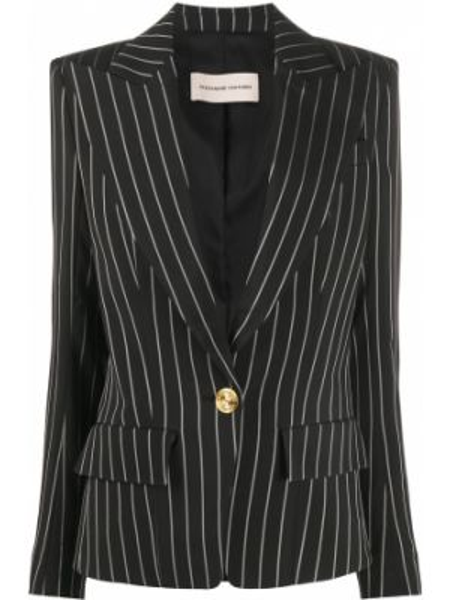 Черный удлиненный пиджак с карманами с вырезом Alexandre Vauthier