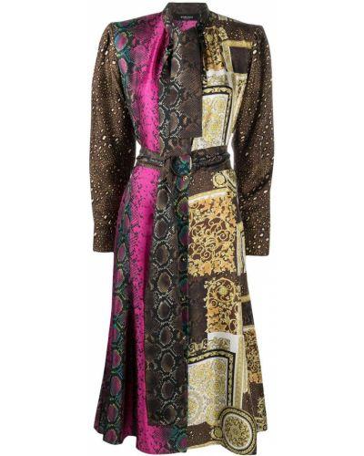 Шелковое платье миди - коричневое Versace