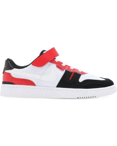 Z paskiem skórzany biały sneakersy na sznurowadłach Nike