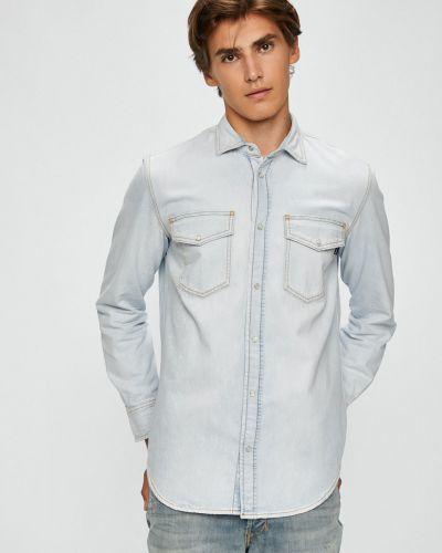 Джинсовая рубашка с длинным рукавом однотонная Diesel