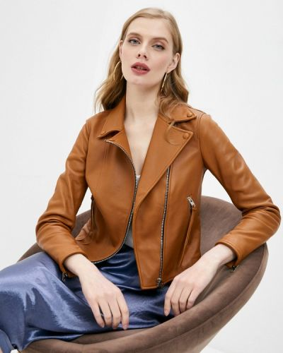 Коричневая кожаная куртка Blouson