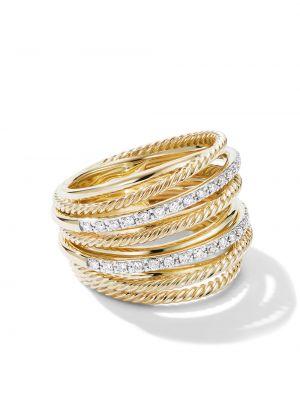 Żółty złoty pierścionek z diamentem David Yurman