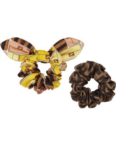 Желтая шелковая резинка для волос с оборками Fendi