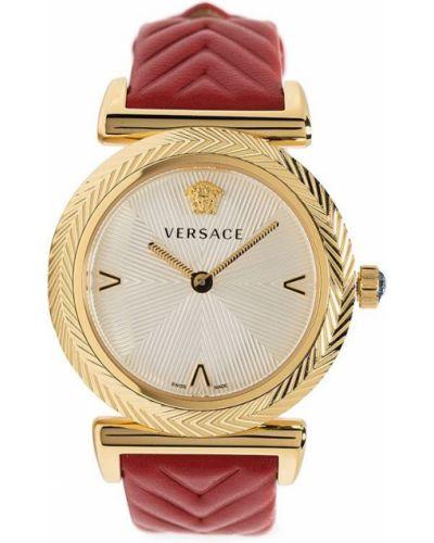 Кожаные золотистые часы золотые Versace
