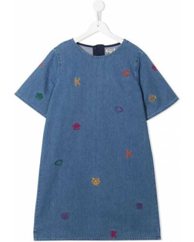 Niebieska sukienka mini bawełniana krótki rękaw Kenzo Kids