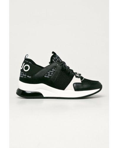 Czarne sneakersy na platformie skorzane Liu Jo