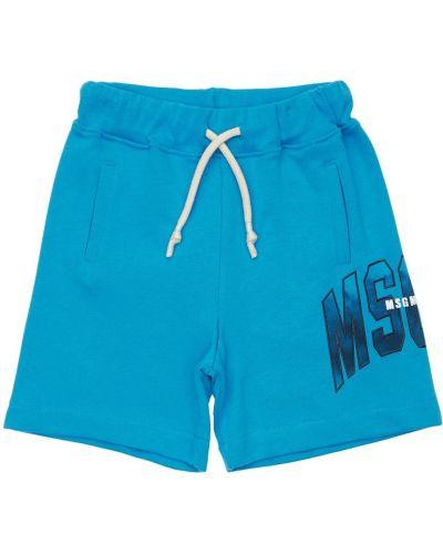 Bawełna bawełna niebieski szorty na gumce Msgm