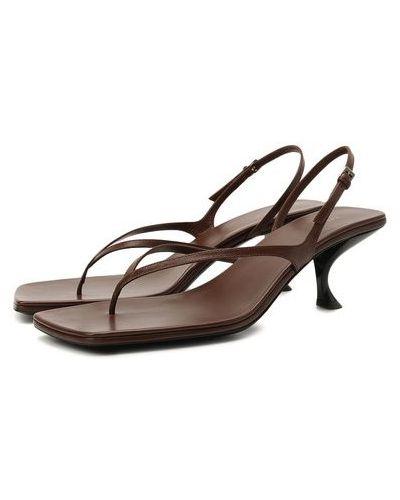 Коричневые кожаные босоножки на каблуке The Row