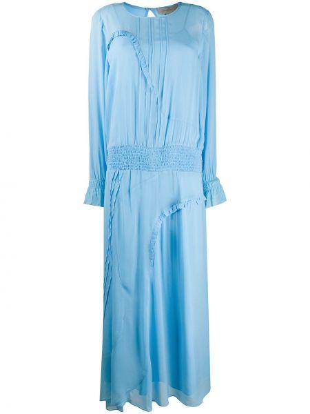 Синее прямое облегающее платье с вырезом узкого кроя Preen Line