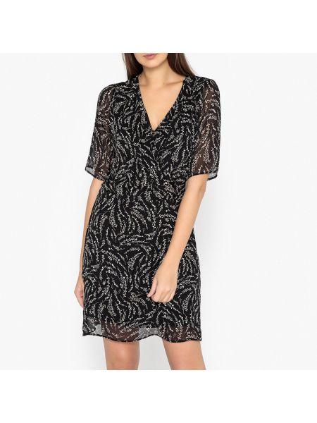 Платье мини с запахом с декольте со складками с рисунком Ikks