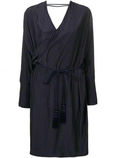 Платье миди на запах - синее Lanvin