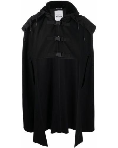 Z rękawami czarny wełniany asymetryczny peleryna z kapturem Valentino