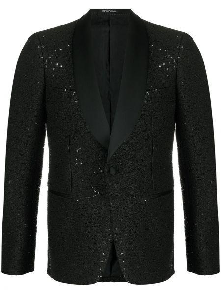 Czarna długa kurtka wełniana z długimi rękawami Emporio Armani