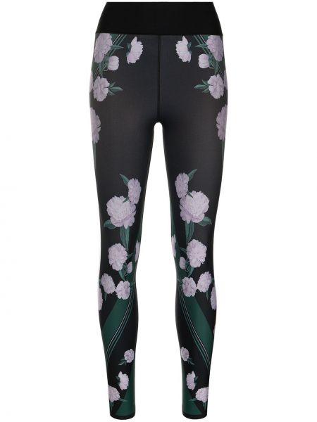 Czarne legginsy w kwiaty z printem Ultracor
