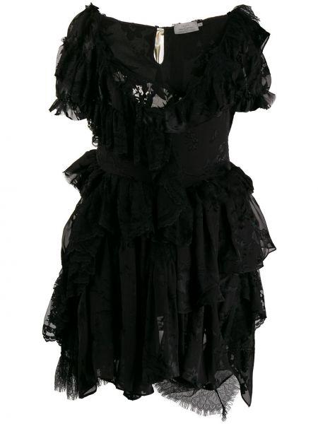 Черное шелковое платье с оборками со спущенными плечами Preen By Thornton Bregazzi
