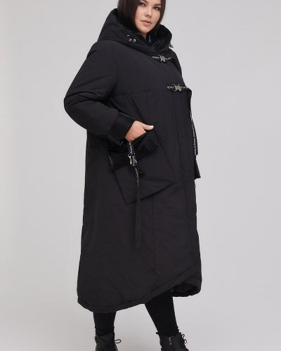 Пальто с капюшоном - черное Riches