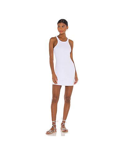Белое шелковое платье в рубчик с подкладкой Lna