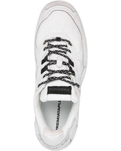 Кожаные белые кроссовки на шнурках Premiata