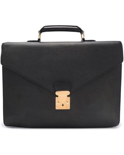 Czarny teczka z kieszeniami z prawdziwej skóry Louis Vuitton