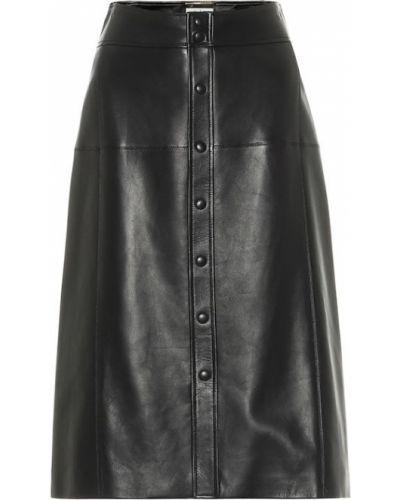 Черная кожаная юбка миди Saint Laurent